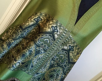 pashmina shawl cover up scarf Fichu poncho olive green multi gold silver hearts finished with tassels