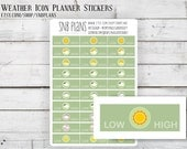 Weather Tracking // Spring Watercolor// 30 Planner Stickers // Perfect for Erin Condren, Plum Paper, Kikki K, and Filofax Planners