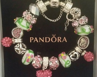 Authentic Pandora Charm Bracelet 925 ALE Silver Brigh Pink Rhinestone Heart European Style with Lampwork Murano Glass Beads FREE Shipping