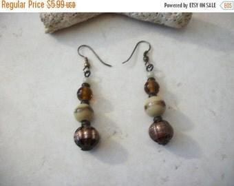 ON SALE Vintage 1950s Long Glass Artisan Lamp Work Beads Dangle Earrings 10416
