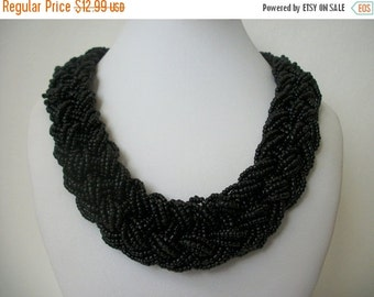 ON SALE Vintage Elegant Woven Black Japanese Seed Beads Hand Made Wide Collar Necklace 715
