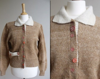 1960s Hand Knitted Tan Cardigan Sweater * Size Small - Medium