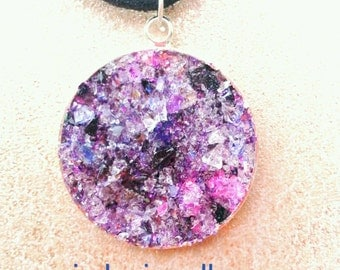 purple druzy necklace - bezel pendant - purple necklace - glass necklace - druzy jewelry - sparkle