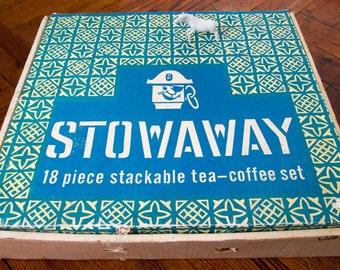 Vintage Stowaway 18 piece stackable tea-coffee set, still in original box