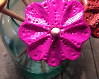Pink polymer clay drop spindle