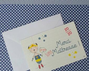 """""""Super teacher thank you"""" postcard"""