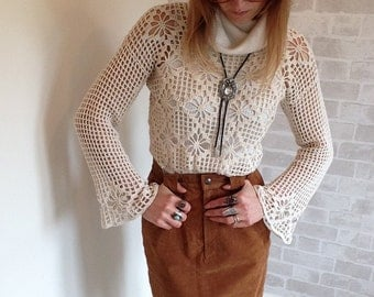 Vintage Tan Suede High Waisted Skirt.