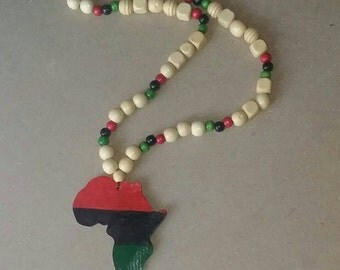 RBG Africa with red black and green wooden beads