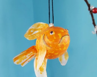 GOLDFISH - REAL EGG - Chistmas and Easter ornaments