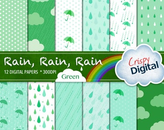 Rain Drops, Polka Dots, Clouds and Umbrellas Digital Papers Green 12pcs 300dpi Digital Download Scrapbooking Printable Paper Collage Sheets
