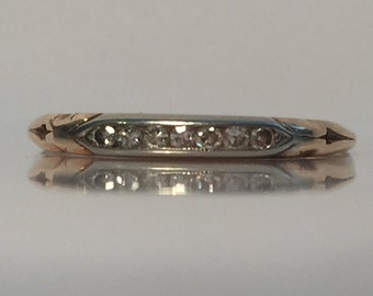 Delicate 14ct gold and diamond ring