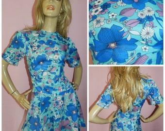 Vintage 60s Blue FLOWER POWER PSYCHEDELIC Dolly Mod Gogo mini dress 8-10 S 1960s Kitsch Drop waist