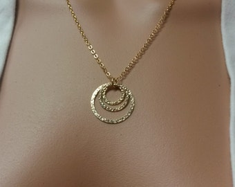 Hammered Triple Circle Pendant Necklace in Gold Filled