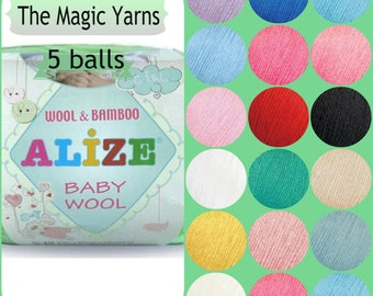 Alize Baby Wool-Set of 5 balls,Natural yarn, baby yarn,Wool Bamboo mix,Wool, Bamboo , sport,light weight, 4 ply,white, green ,blue,