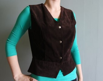 Suede Leather Womens Vest Brown Leather Vest Vintage Country Cowboy Western Waistcoat