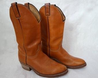 Women's Cowboy Boots Genuine Leather Vintage 1980s Women's BrownCowboy Boots size US7 EU37.5 UK4.5