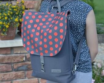 Ladybug Large Backpack, Red Grey Polka dots functional bag, canvas laptop carrier, macbook shoulder bag, Convertible school bag, Gift Idea