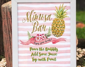 Pineapple Mimosa Bar Sign, Gold Mimosa Bar, Bubbly Bar, Printable Mimosa Bar, Mimosa Sign, Bridal Shower Mimosa Sign, Wedding Mimosa Sign
