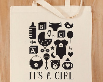 It's A Girl Tote Bag – Baby Gift – Baby Shower –Baby Tote –Baby Icons –Newborn Gift