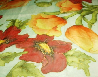 Flowers, Natural Silk painting, Silk Scarf, Hand Painted Silk Shawl,  made in the technique of cold batik, gift