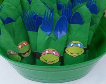 TMNT napkin decor, napking ring with spoon and fork