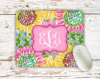 Secret Santa gift Under 20, Floral mouse pad, Preppy pink green yellow, Pink cubicle decor for girls, Inexpensive monogrammed gifts (1681)