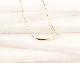 Tube Necklace/ Gold Tube Necklace/ Tube Gold  Necklace/ Curved Bar Necklace/ Delicate Layering Necklace/Gold Tube Layering Necklace,