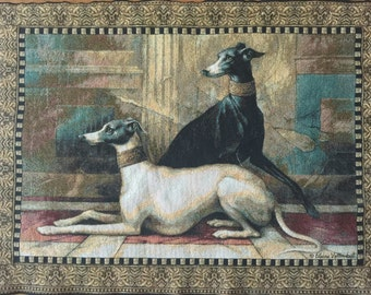 Greyhounds or Whippets Tapestry Wall Hanging with Dowel Vintage