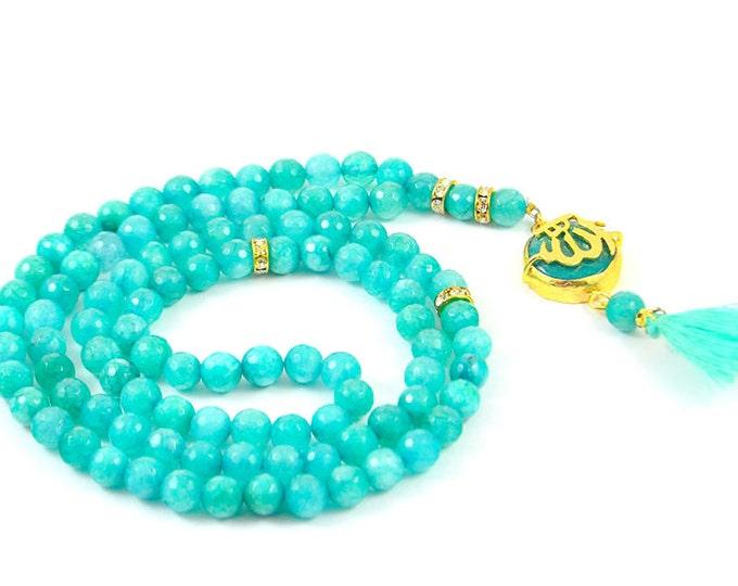 religious ramadan tasbah, tasbeh, masbahah, islamic mala, rosary necklace, rose pedant tasbeh subhah tespih islamic praying beads, 99 beads