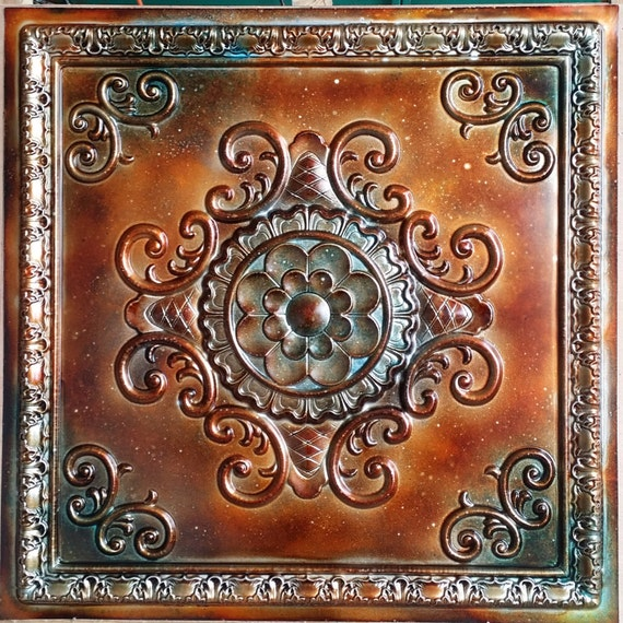 pl08 faux tin metalized ancient copper patina ceiling tiles 3d. Black Bedroom Furniture Sets. Home Design Ideas