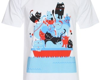 Cat Boat Art Design T-Shirt