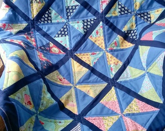 Blustery Blues Small/Lap Patchwork Quilt