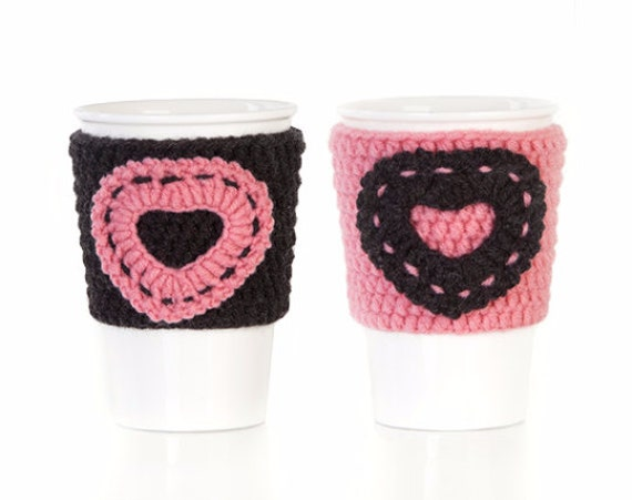 Christmas gift, Crochet cup cozy, mug cozy, cup cozy, gift for her, coffee cup sleeve, anthracite, salmon, Set of 2