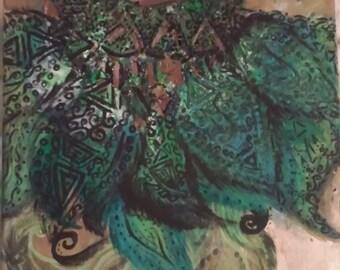 Tribal hummingbird painting