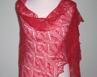 Handmade knitted laced red shawl with beads.