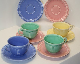 Set of 8 (4 cups/4 saucers) Vintage USA made cups and saucers; pastel colored dishes; six saucers, four cups