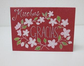 Muchas gracias card | Thank you card, Spanish card, Bilingual card, floral card