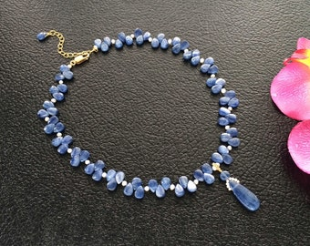Natural Blue Kyanite & Fresh Water Pearl Gold Filled Necklace