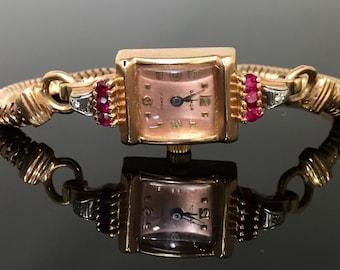 Retro Moderne 14K Rose Gold Ruby Ladies Wrist Watch - Vintage 1940s 14K Rose Gold Rubies Diamonds Galmor Swiss Movement WAT3331
