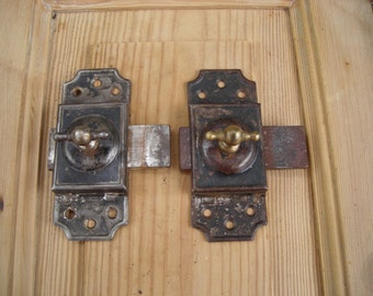 Old French Slide Bolts.  Pair of Steel and Brass Slide Bolts.