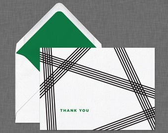 Set of Modern Thank You Cards // Folded Thank You Cards // Striped Design
