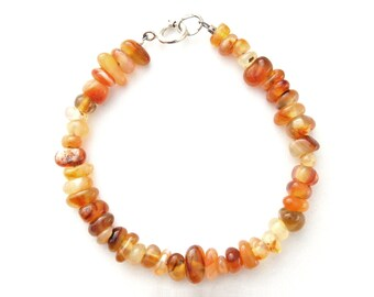Carnellian Chip Gemstone Bracelet with Sterling Silver Clasp **CLEARANCE SALE**