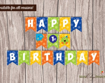Monster Birthday Party Banner/  Printable Monster Banner/ Monster Party / Monster printable Download/ Monster Birthday Party/ Monster Theme