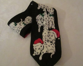 Men's Silk Tie with Adorable Dalmations in Santa's Hats by ADDICTION !