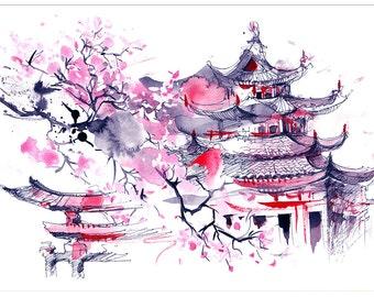 illustration ART Cherry blossom PINK JAPAN Poster Print P2601