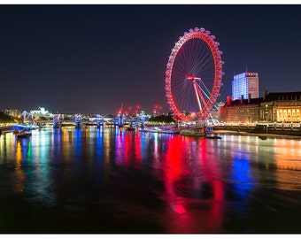 Red London EYE at night river Thames THE CITY Poster Print P2606
