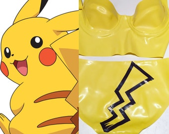 Latex Pikachu Inspired Lingerie Set