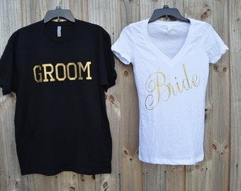 Bride and Groom Shirts/Bride/ Groom/ Wedding shirts/ Wedding Day/ Bridal Shower/ Bachelorette and Bachelor Party