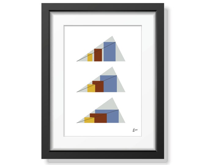 Rectangles in Triangles 04 [mathematical abstract art print, unframed] A4/A3 sizes