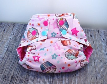 Cupcake Diaper Cover- Square-tab Diaper Cover- Pink Girly Layered Pul. Multi-colored Snaps.